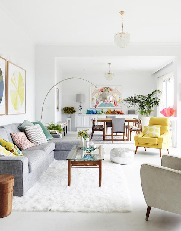 Neutral living room with color pop- design addict mom