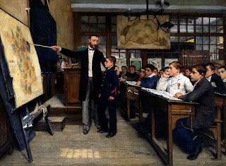 Schoolteacher pointing the loss of Alsace-Lorraine