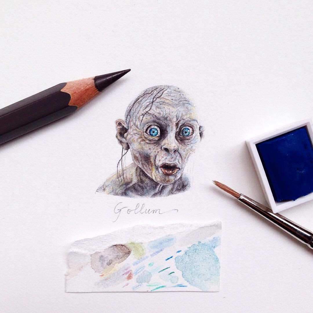 10-Gollum-and-Smeagol-JRR-Tolkien-The-Lord-Of-The-Rings-The-Hobbit-Claudia-Maccechini-Miniature-Tiny-Drawings-www-designstack-co