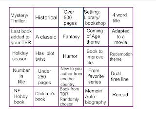 Reading Challenge Grid.