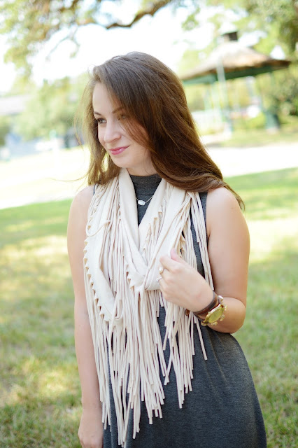 Swing Dress + Fringe Scarf