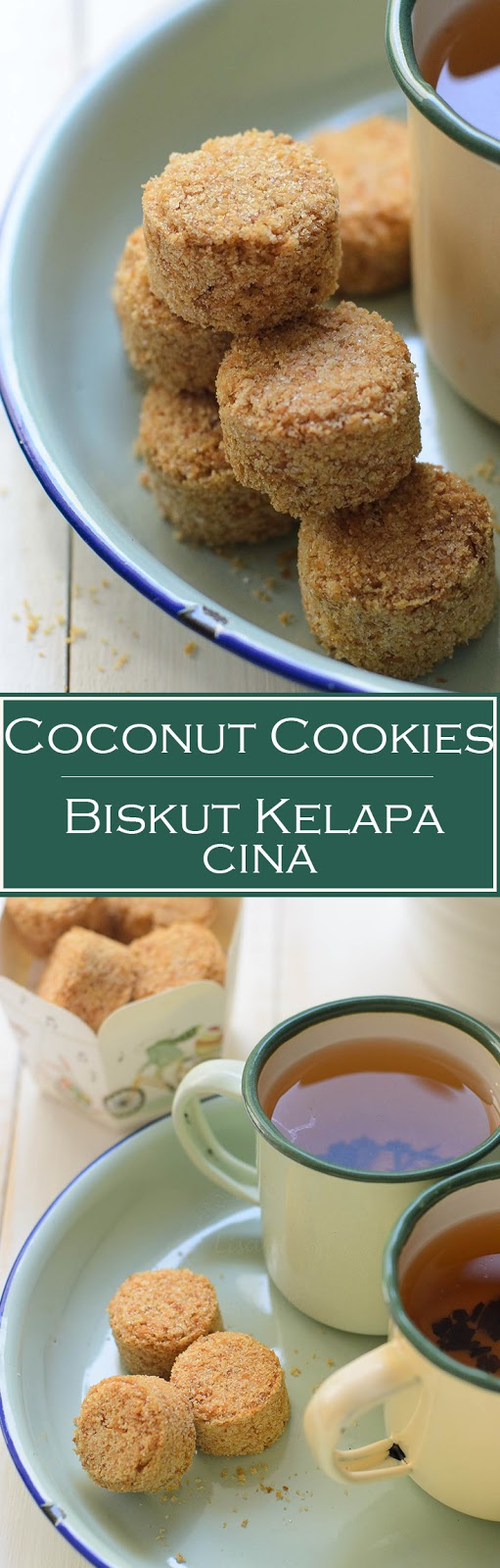 Coconut cookies/ biskut kelapa cina are made of over baked dinner rolls and desiccated coconut.  These cookies are addictively delicious. One of my favourite childhood school snack.