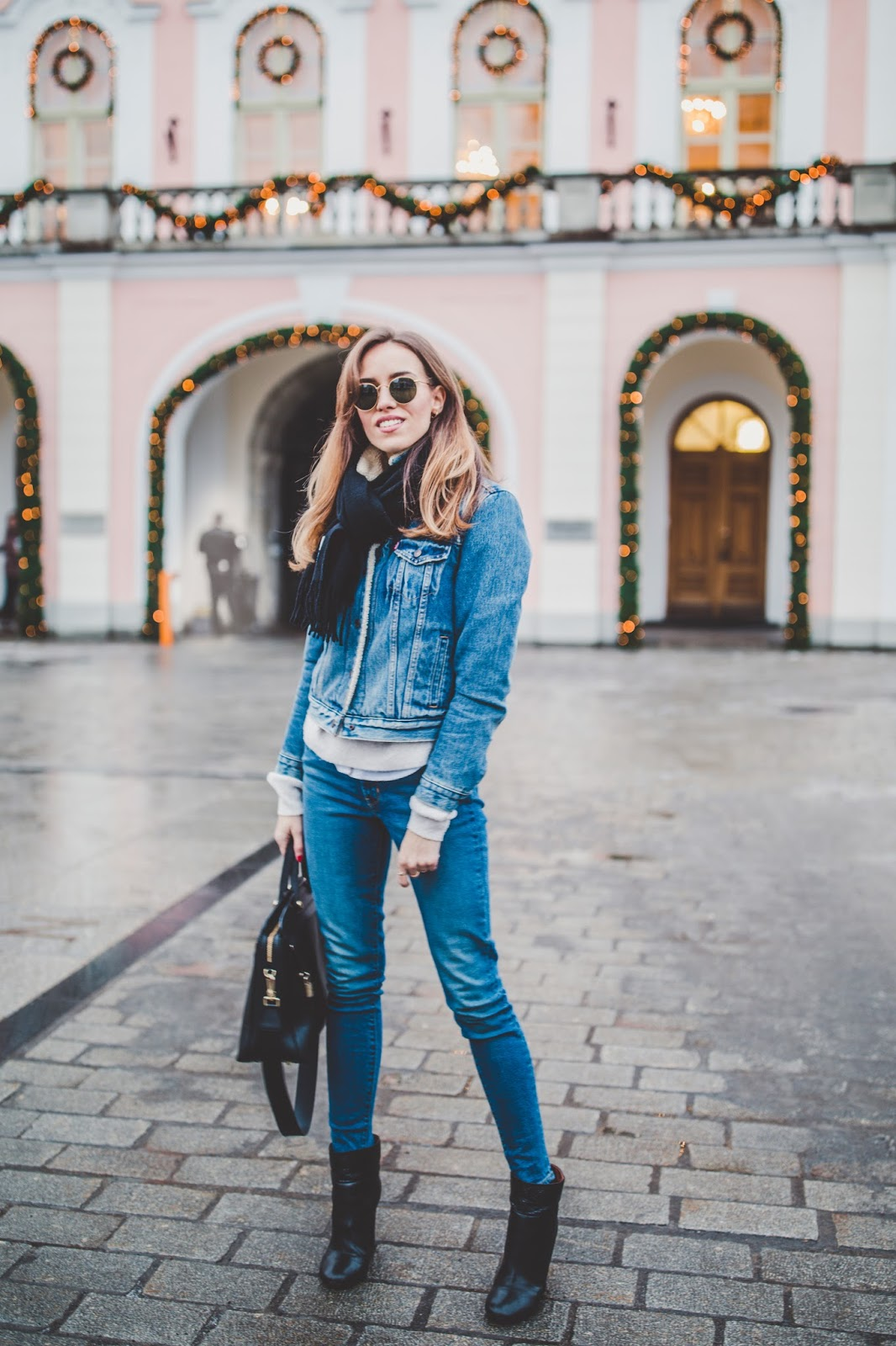 denim on denim winter outfit