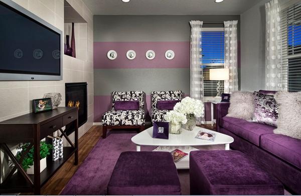 Desain Ruang Tamu Menarik Berwarna Ungu  Rancangan Desain Rumah Minimalis