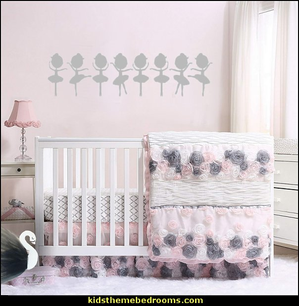 Colette Pink and Grey Floral Baby Girl Crib Quilt by The Peanut Shell  ballerina bedrooms  - ballerina bedroom decorations - Ballet Theme Bedroom ideas - ballerina wall mural decals  - Prima Ballerina bedroom decorating theme - swan lake bedroom ideas -  ballerina bedroom wall decorations - swan lake wall decor