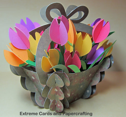 tulip slice form basket side view of flowers