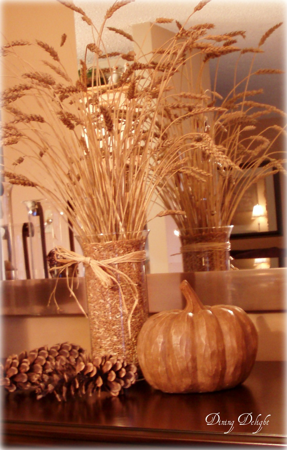Dining delight fall wheat centerpiece for Wheat centerpieces