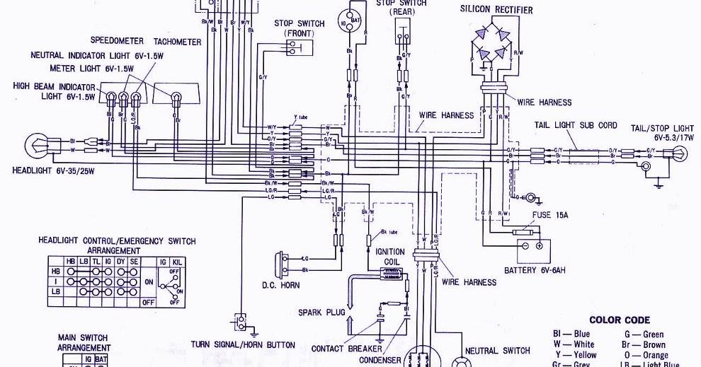 Honda XL100 Electrical Wiring Diagram | Panel switch wiring