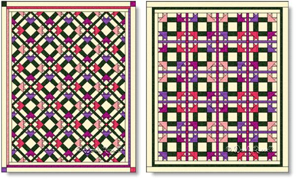 Quilts designed using Peony Nine Patch quilt block - image © Wendy Russell