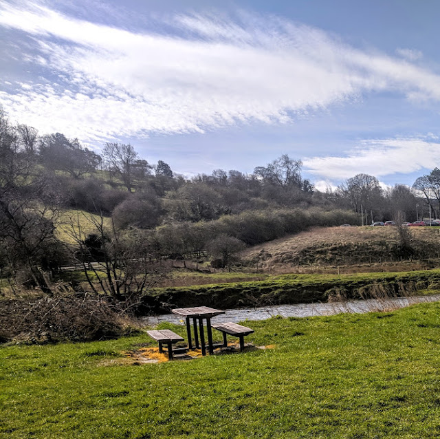 Rothbury Riverside Walk, Picnic Spots & Playground  - picnic tables by the river