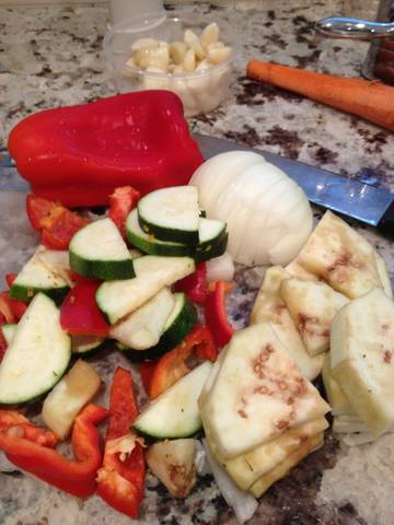 vegetables cut up to make ratatouille