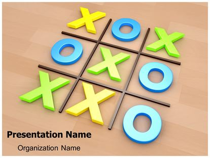 Tic Tac Toe 3D PowerPoint Template - tic tac toe template