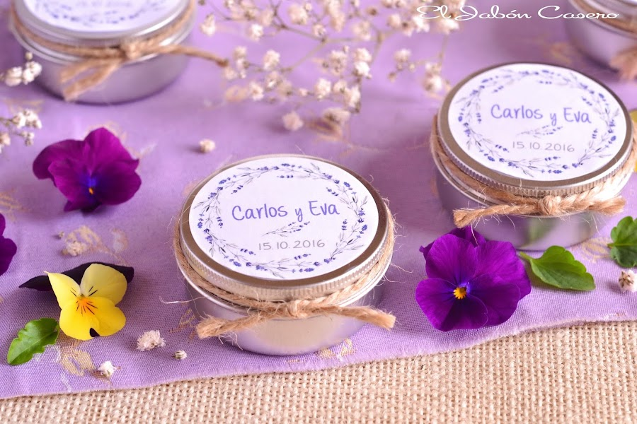 Detalles personalizados para bodas velas aromaticas de lavanda