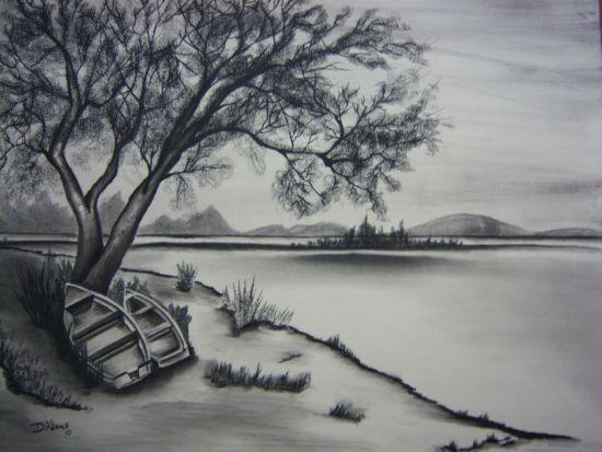 Karakalem Manzara çizimi Nasıl Yapılır Kara Kalem Manzara çalışması