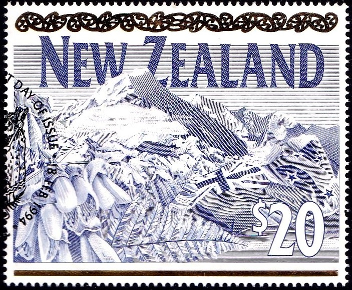 Virtual New Zealand Stamps: 1994 $20 Mount Cook Definitive