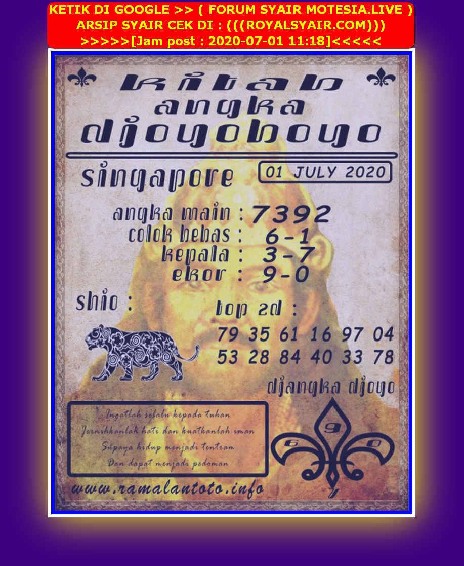 Kode syair Singapore Rabu 1 Juli 2020 159