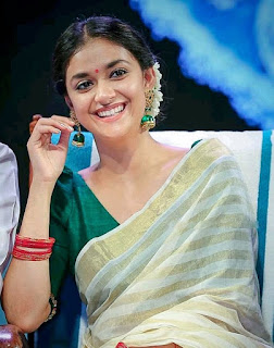 Keerthy Suresh in Saree with Cute and Awesome Lovely Smile 2
