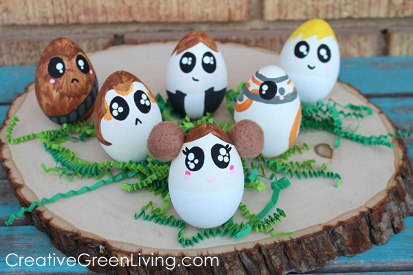 Star Wars Easter egg decorating with characters from Rogue One, Last Jedi and Force Awakens