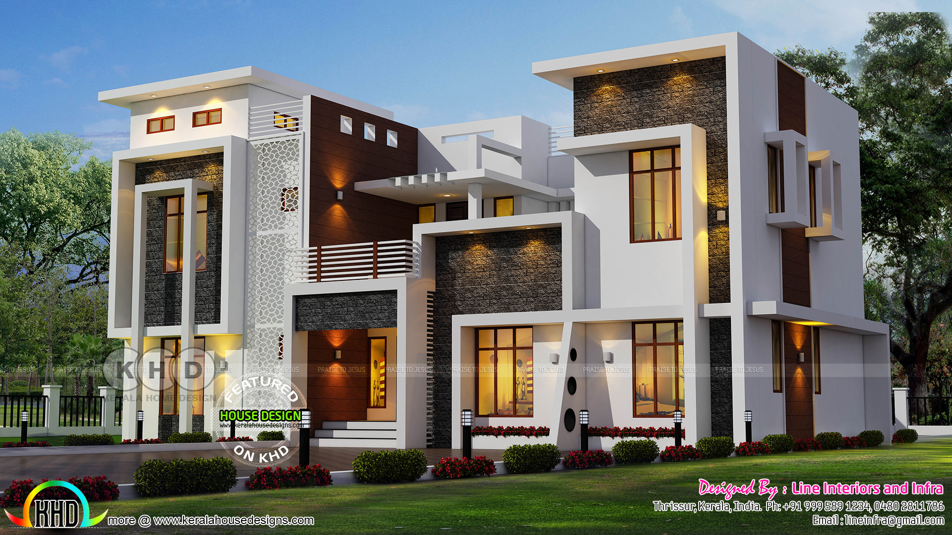 Luxurious modern contemporary kerala home design kerala for Contemporary modern style house plans