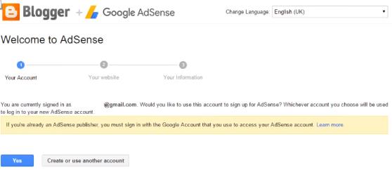 Apply AdSense program via Blogger
