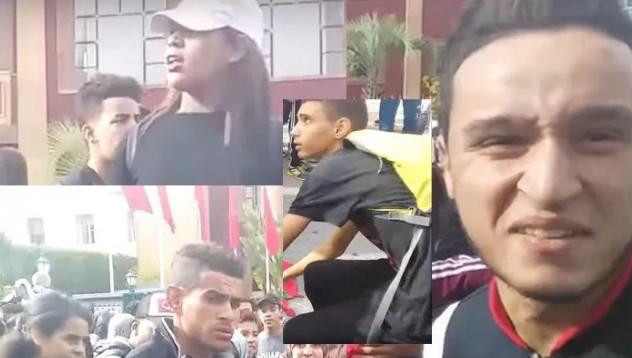 """بالصور: مغاربة ينشرون صور """"التلاميذ"""" الذين أحرقوا العلم الوطني ويطالبون بإعتقالهم"""