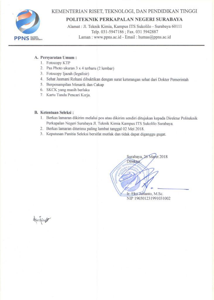 syarat Lowongan Pegawai Politeknik Perkapalan Negeri Surabaya (PPNS)