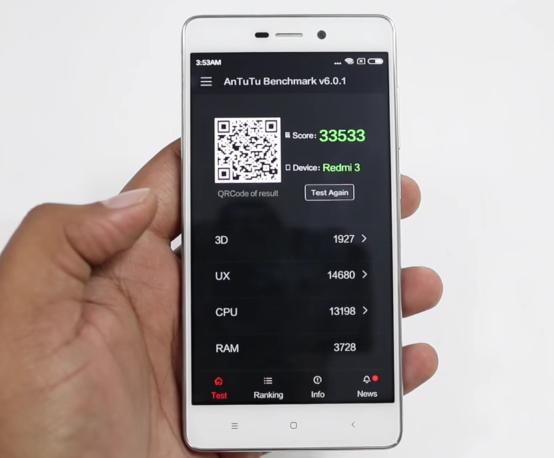 Xiaomi Redmi 3 Antutu Benchmark Score