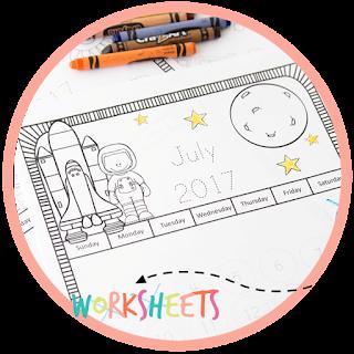 printable calendar for kids to color