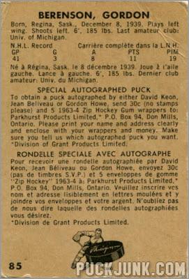 1963-64 Parkhurst #85 - Gordon (Red) Berenson