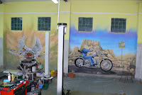 Harley Devidson, artystyczne malowanie ściany, Warszawa