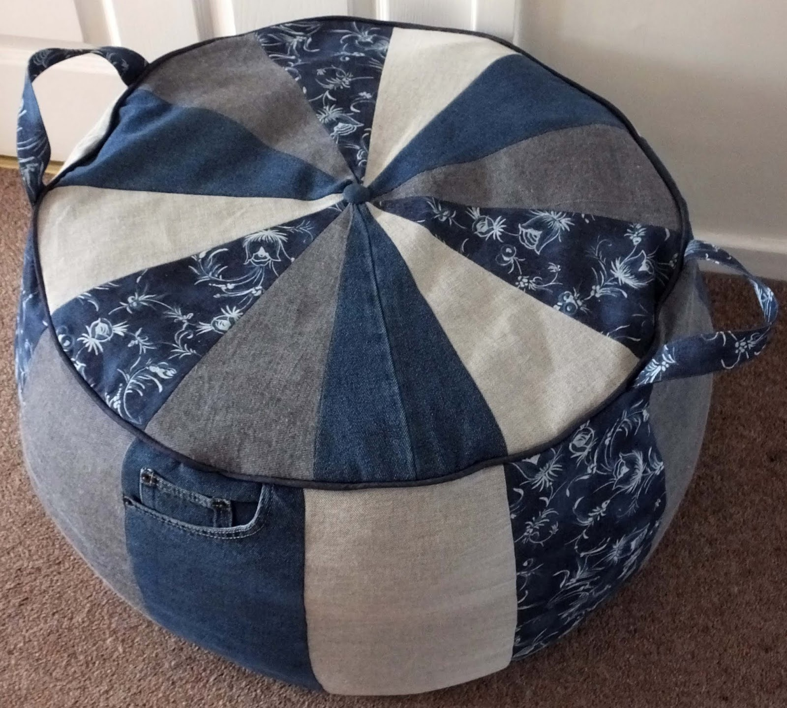 Closet Case Denim Floor Pouf