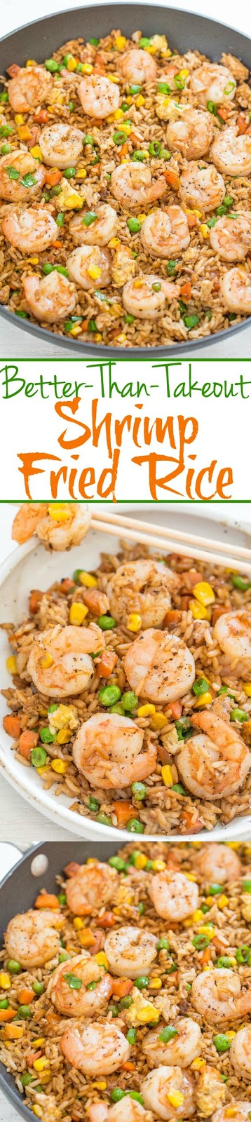 This is an easy, one-skillet recipe that's ready in 20 minutes and tastes better than takeout; it's healthier and not greasy. To save time if you don't have leftover rice on hand or don't want to cook a batch, use two pouches of ready-to-serve rice. The shrimp is tender and juicy. I use fresh shrimp but you can use frozen shrimp that's already been cooked. There's garlic, ginger, green onions, sesame oil, and soy sauce for layers of flavor while peas, carrots, corn, and bits of egg add texture.