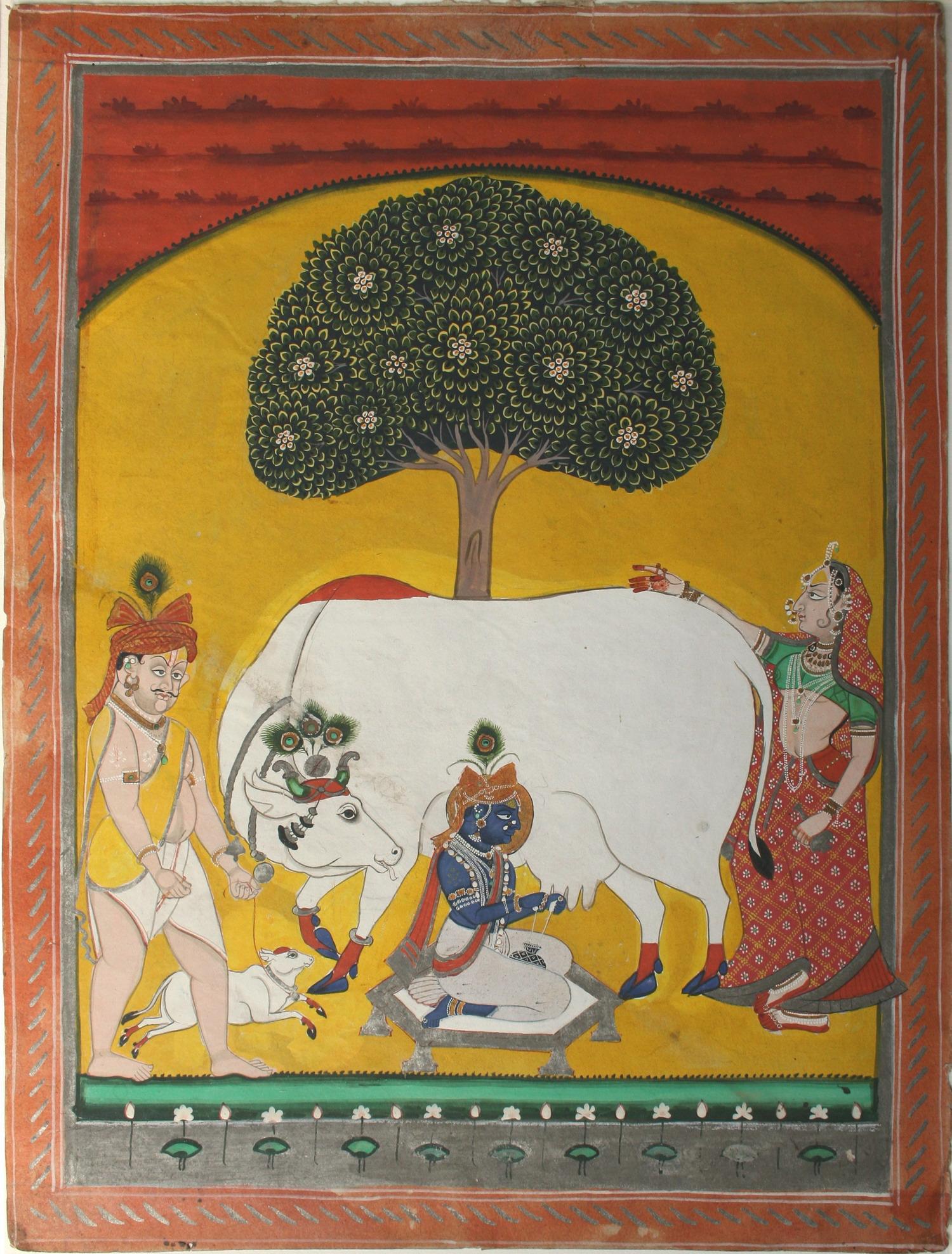 Krishna Milking Cow. Nathdwara, Rajasthan - c1840