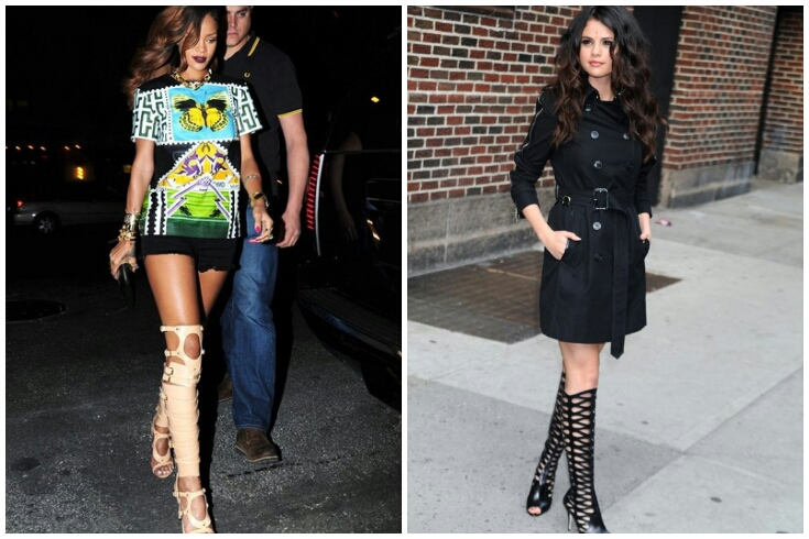 bb578a0db3e Rihanna in Tom Ford strappy buckled sandal boot and Selena Gomez in Brian  Atwood Electra. Julissa Bermudez in Gianvito Rossi leather gladiator knee  sandals