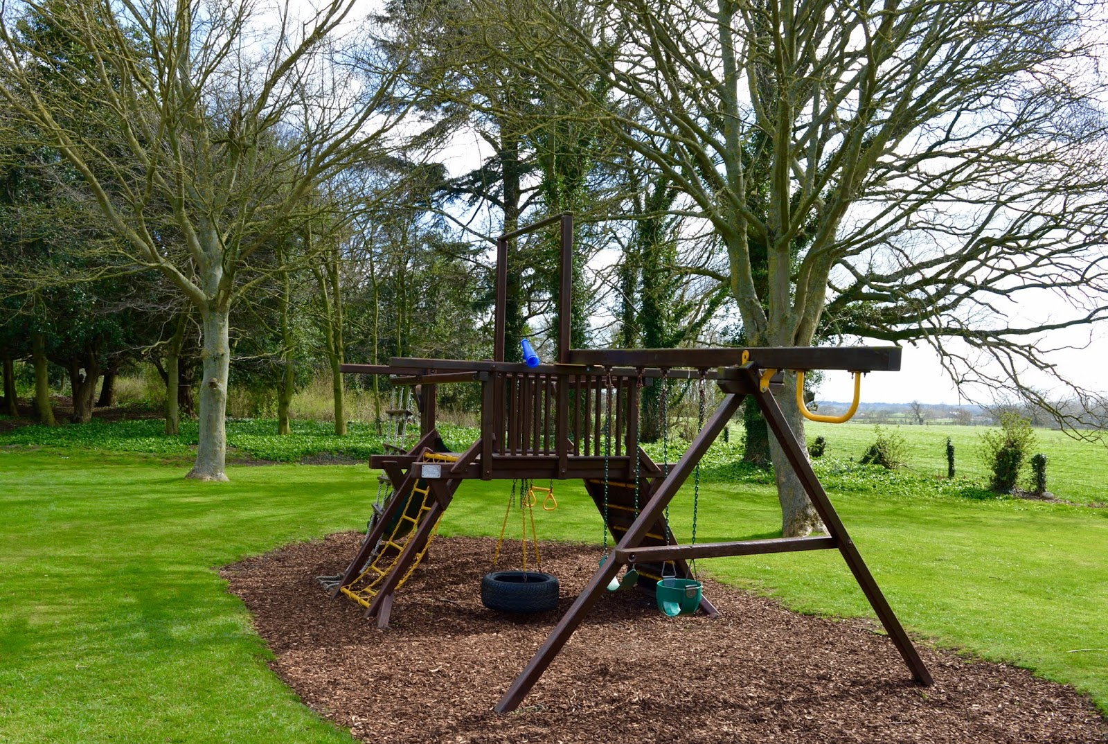 Sunday Lunch, Playgrounds & Birds of Prey at Walworth Castle, Darlington  - park swings and slide
