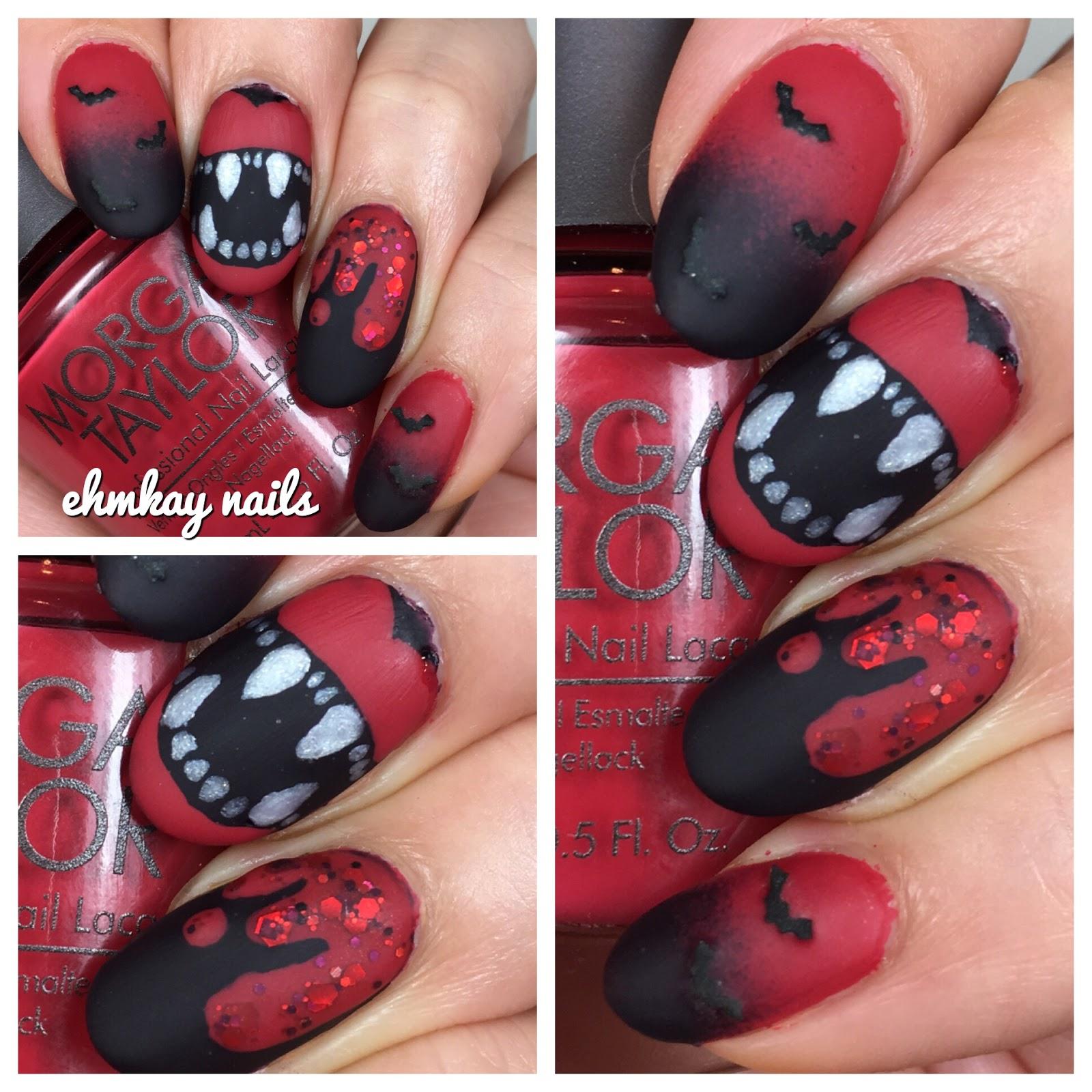 ehmkay nails: 13 Days of Halloween Nail Art: Vampire Nail Art with ...