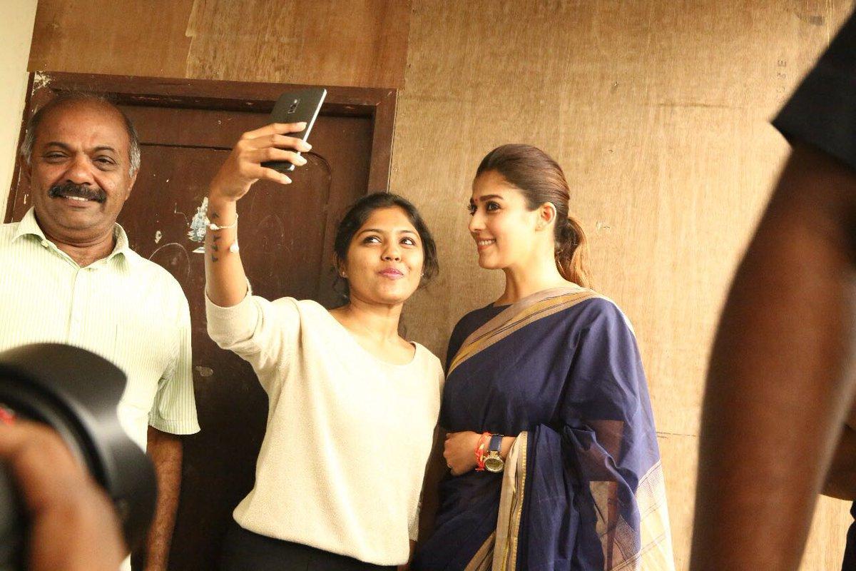 Nayantara in Saree at Chennai Screens of Aramm Promotion
