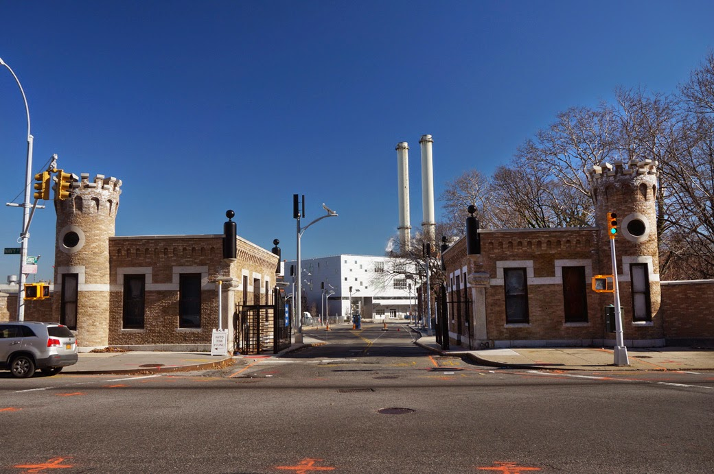 Photo of Sands Street Gatehouses with view into the Brooklyn Navy Yard