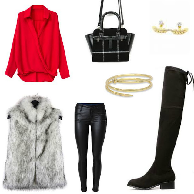 leather leggings, fur vest, red top, plaid bag, OTK boots