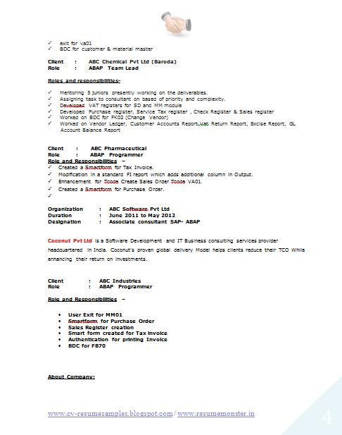 Ue Resume Format Computer