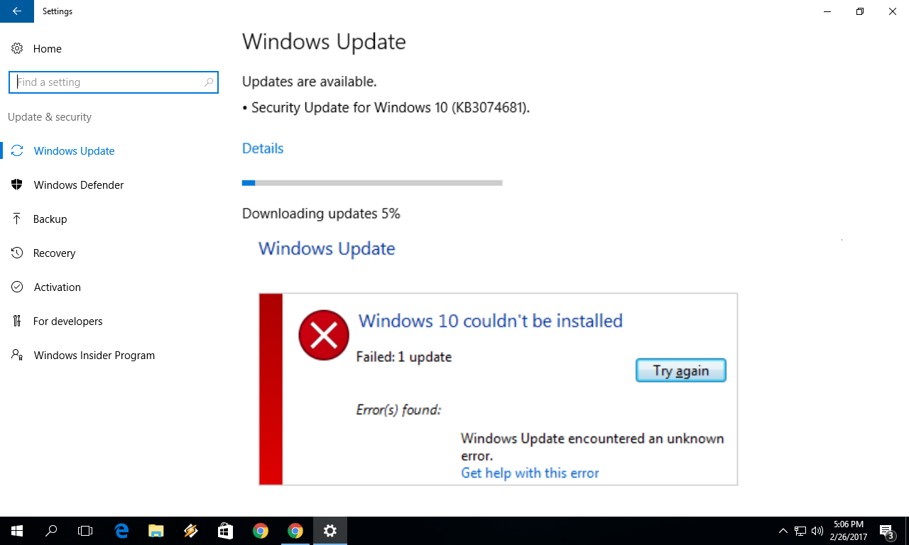 windows update download stuck at 99