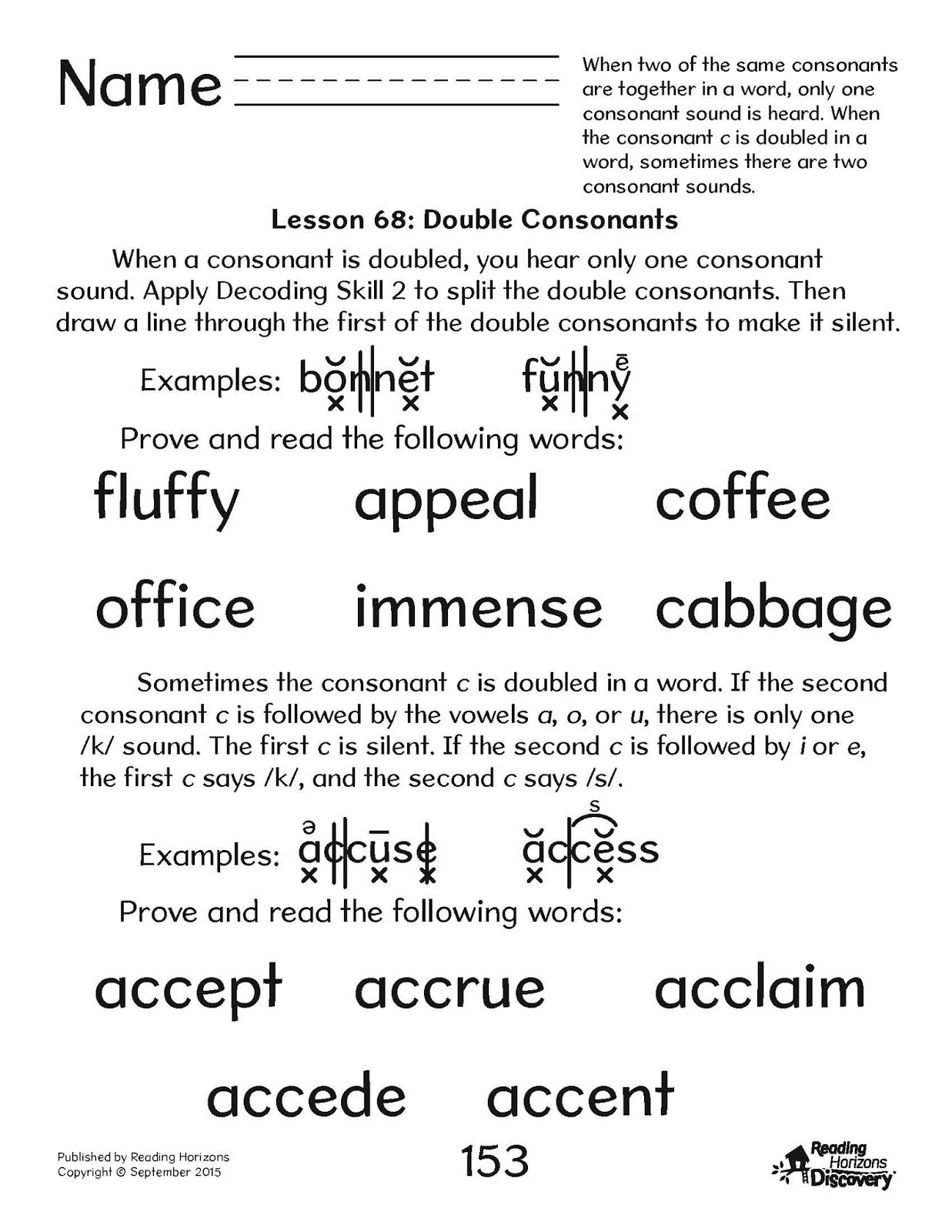 Double Consonant Words For 2nd Grade