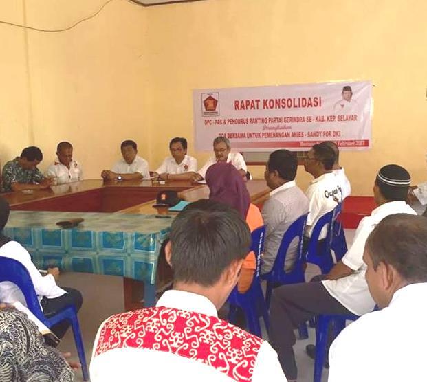 Gerindra Selayar, Rapat Konsolidasi, Dan Doakan Anis-Sandy For DKI