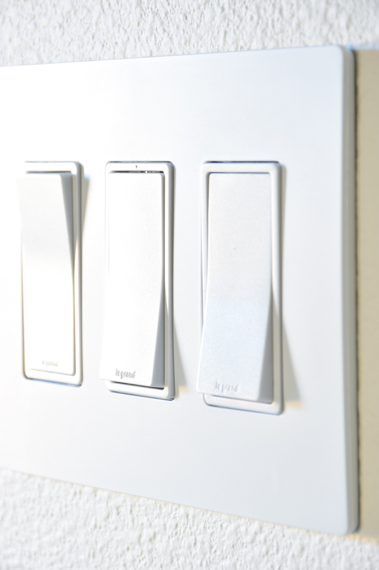 The radiant collection by Legrand features modern screwless faceplates and tons of smart home functions/options.