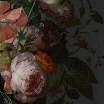 Still Life with Flowers on a Marble Tabletop, Rachel Ruysch, 1716 (fragmento)