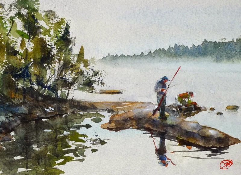 A painting of Island fishing by David Meldrum