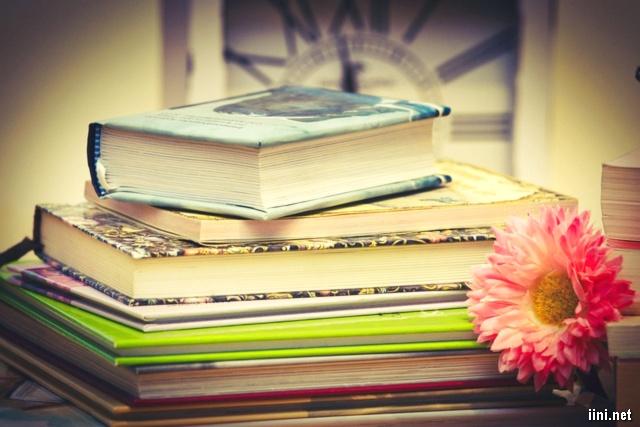 ảnh chồng sách và hoa