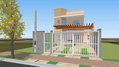 Nesta fachada os portões correm paralelamente para permitir manobras alternadas de veículos.