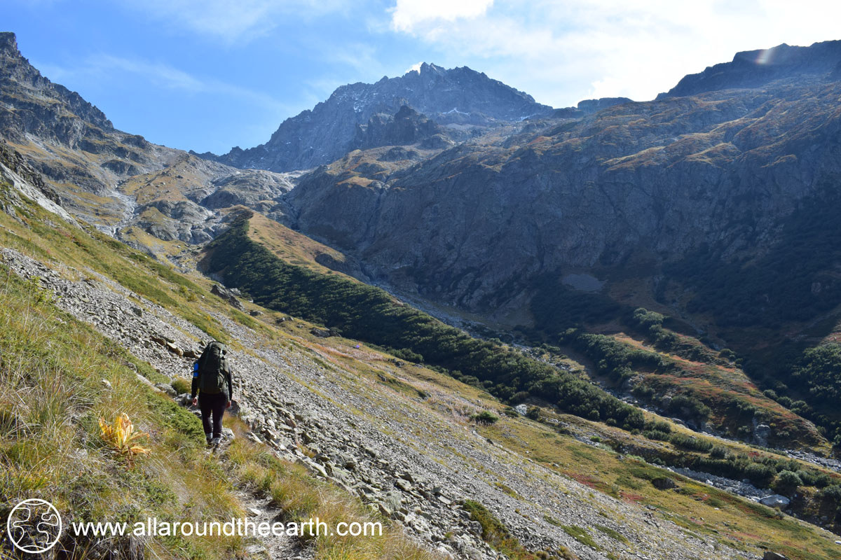 Hiking up to Cabane du Pis hut in the Valgaudemar Valley, Ecrins National Park, Alps of France
