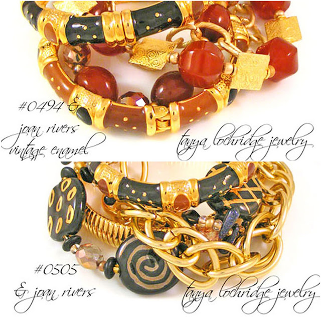 Tanya Lochridge Jewelry Agate, jasper, avenutine, quartz and Kazuri Bracelets